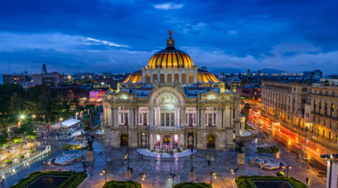 Dusk falls over the Palacio de Bellas Artes in Mexico City